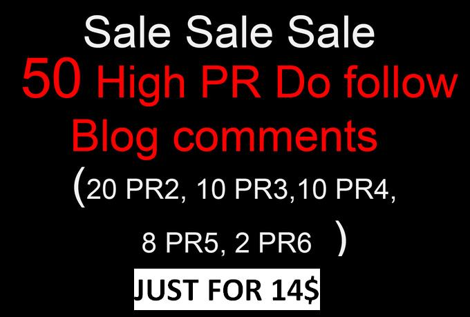 I will do manually 50 links 20 PR2, 10 PR3, 10 PR4, 8 PR5, 2 PR6 Dofollow blog comments