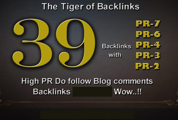 I will do 01xPR7,  03xPR6,  05xPR5,  10xPR4,  10xPR3,  10xPR2, High PR Dofollow Blog comments