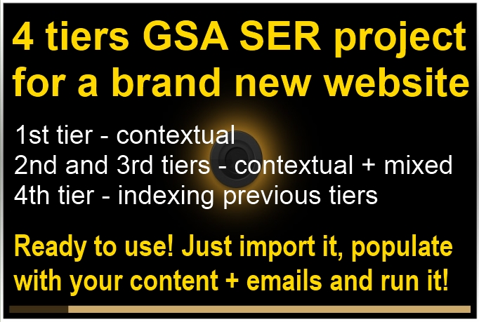 I will create 4 tiers GSA SER project ready to use for a new website - for Search Engine Ranker