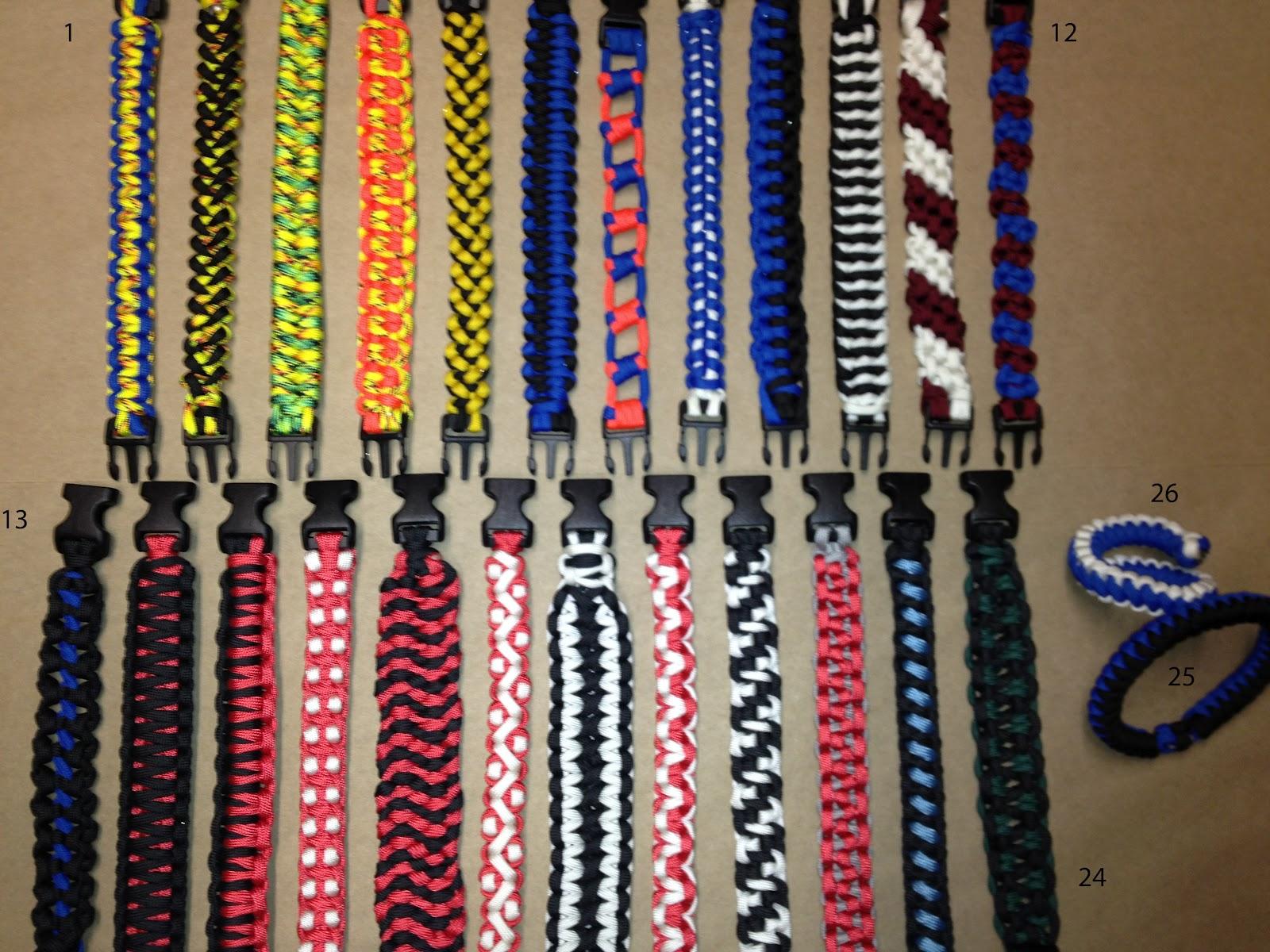 Paracord Weave Styles Paracord Survival Bracelet Multiple