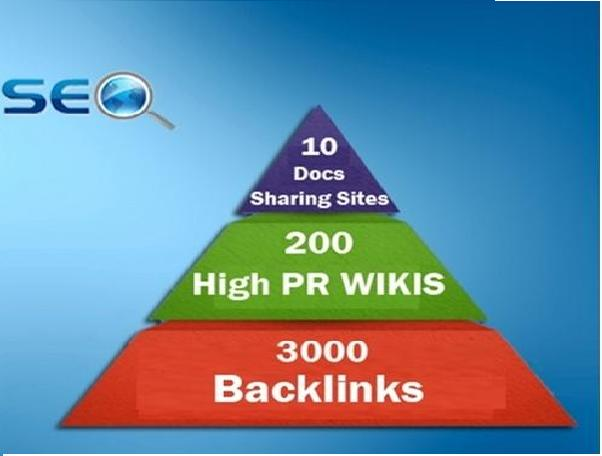 I will Create seo linkpyramid 10 docs or pdf sharing sites,  200 high pr wiki 3000 backlinks