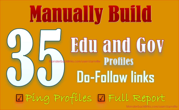 I will MANUALLY build 35 DoFollow Gov and EDU BACKLINKS from high PR Domain 4 to 9