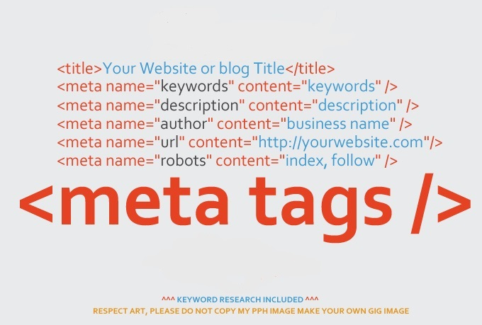 I will create unique seo meta tags with keyword research for your website  or blog for $20