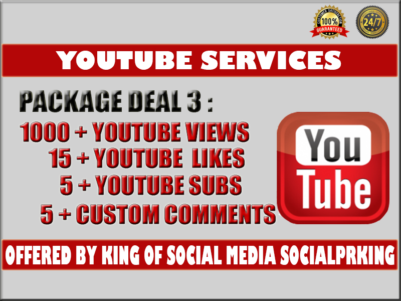 I will give you 1000 - 1300+ YT Video views+ 15 yt likes, 5 subs and 5 custom comments