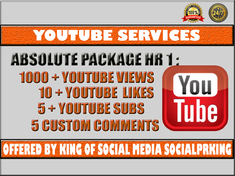 Absolute Desktop HR Package 1 will give 1000 Youtube High Retention Views + 10 YT likes + 5 Subscribers + 5 Custom comments