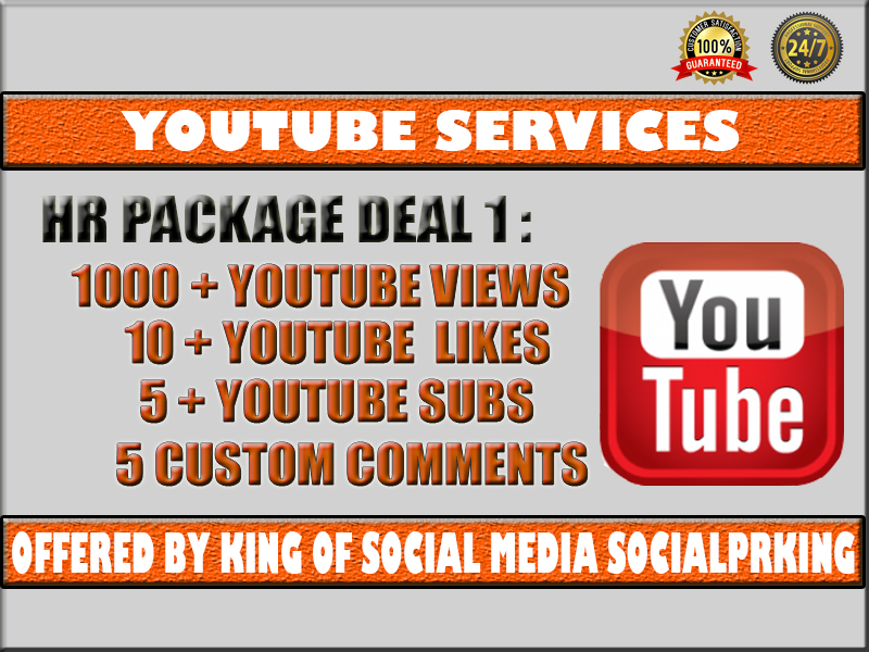 High Retention Package 1 will give 1000 Youtube High Retention Views + 10 YT likes + 5 Subscribers + 5 Custom comments