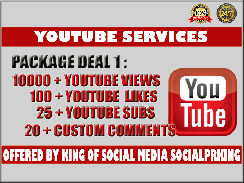 I will give you 10000 YT Video views + 100 yt likes,  25 subs and 20 custom comments