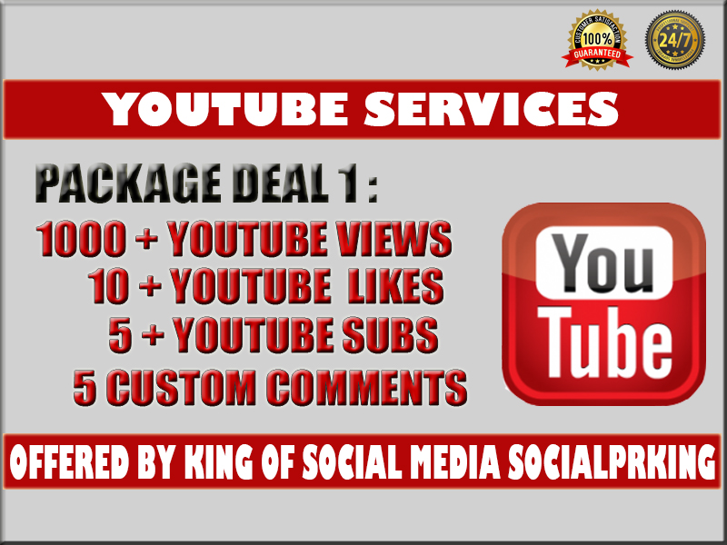 REAL Retention PACKAGE 1 Video Youtube Promotion 1000 vie ws + 5 com ments +5 subs and 10 li kes