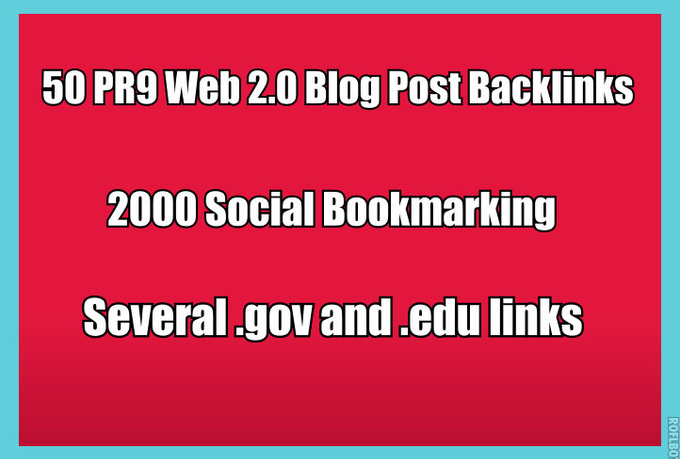 manually Create 50 PR9 Web20 Blog Post Backlinks Plus 2000 Social bookmarking