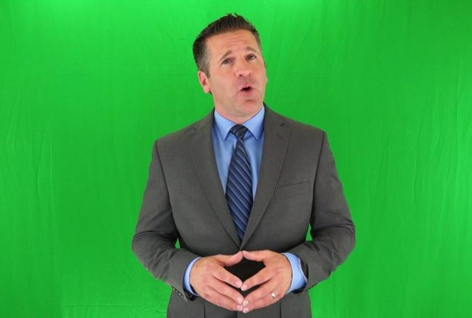 shoot a 20 word video on a green screen for your webs...