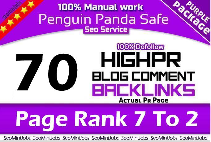 I will Do manual 70 DoFollow blog comments backlink actual PR 2 To 7