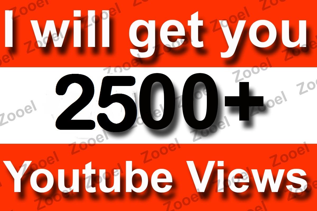 Instant Start 2500+ High Retention Youtube Views