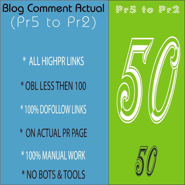 manual 50 Dofollow Blog Comment Actual Pr5 to Pr2