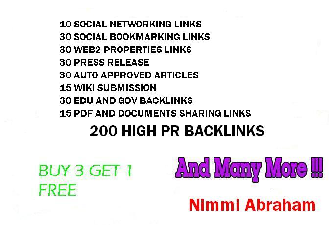 create 200+PR9-PR2 high PR Mixed Back links for