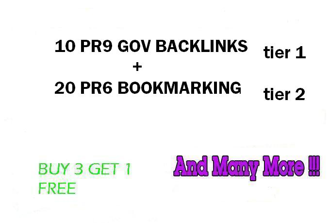 Dofollow 2 Tier Link Pyramid using 10PR9 Gov Domains with 20 PR6 Social Bookmarks
