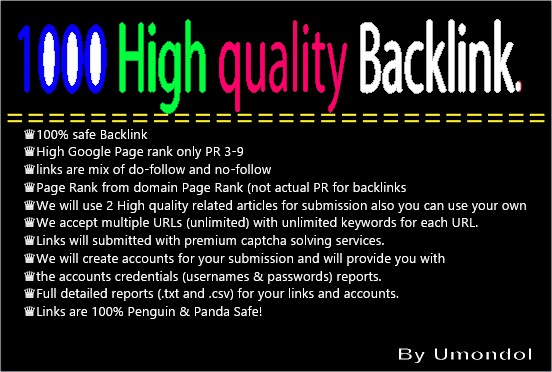 Submit 3000 High Page Rank 3-9 Backlinks