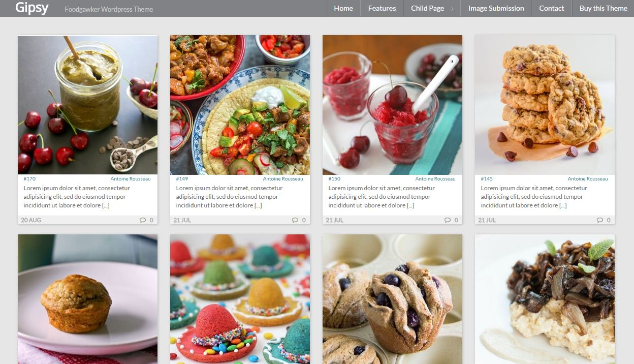 Gipsy,  a Wordpress Theme Like Foodgawker