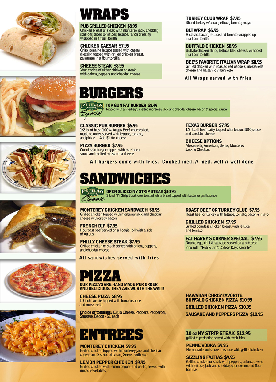 I provide you food menu chart create for 6 seoclerks for Food bar menu