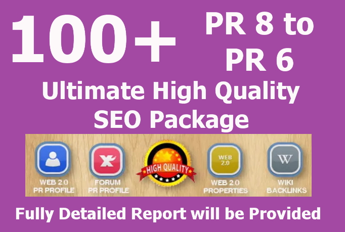 100 All In One Real High PR Quality BACKLINKS Package for SEO all Dofollow