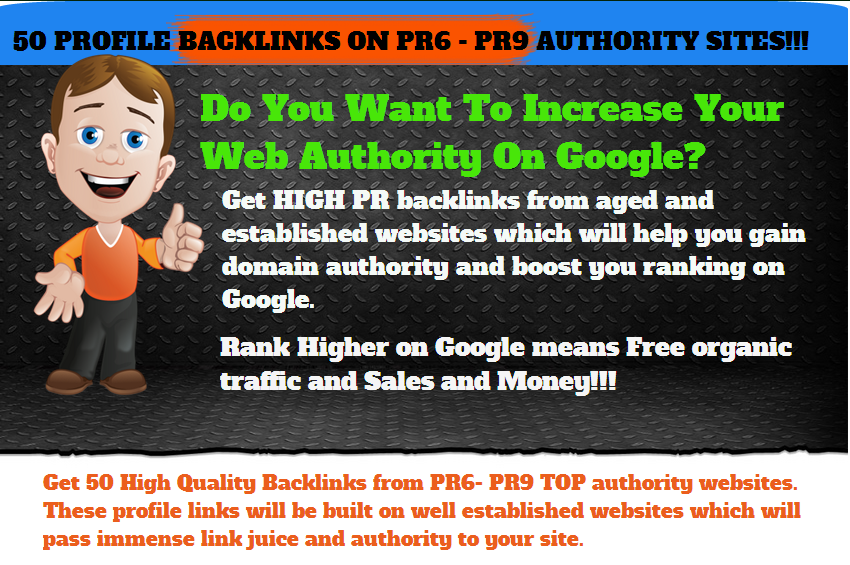 Authority SEO LINK pack - 50 Quality Profile Backlinks On Established (PR6 - PR9) Sites