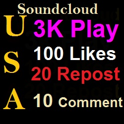 Get high retention Soundcloud USA 3,000 Play,100 Likes 20 Repost Some Comments within 24 hours