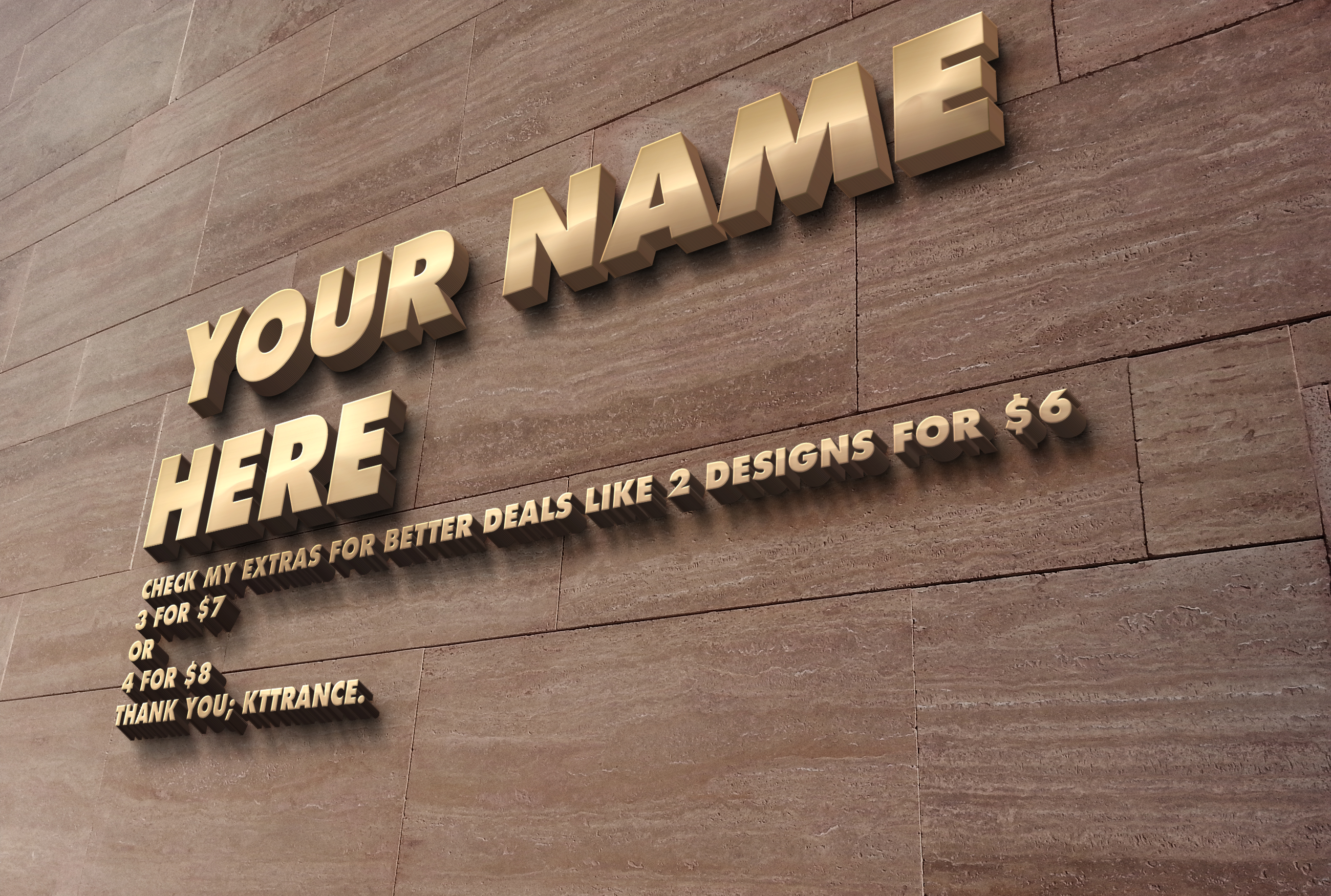 Hello,  I will create your name as 3d with any of this photorealistic designs.