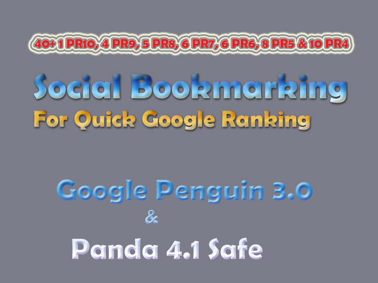 Panda Safe Manual 27 TOP Premium Social Bookmarking from Moz DA100 - DA40