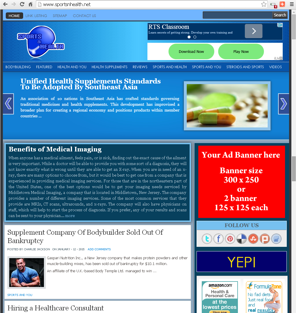 Will place your banner for 1 month in my health and sports related blog