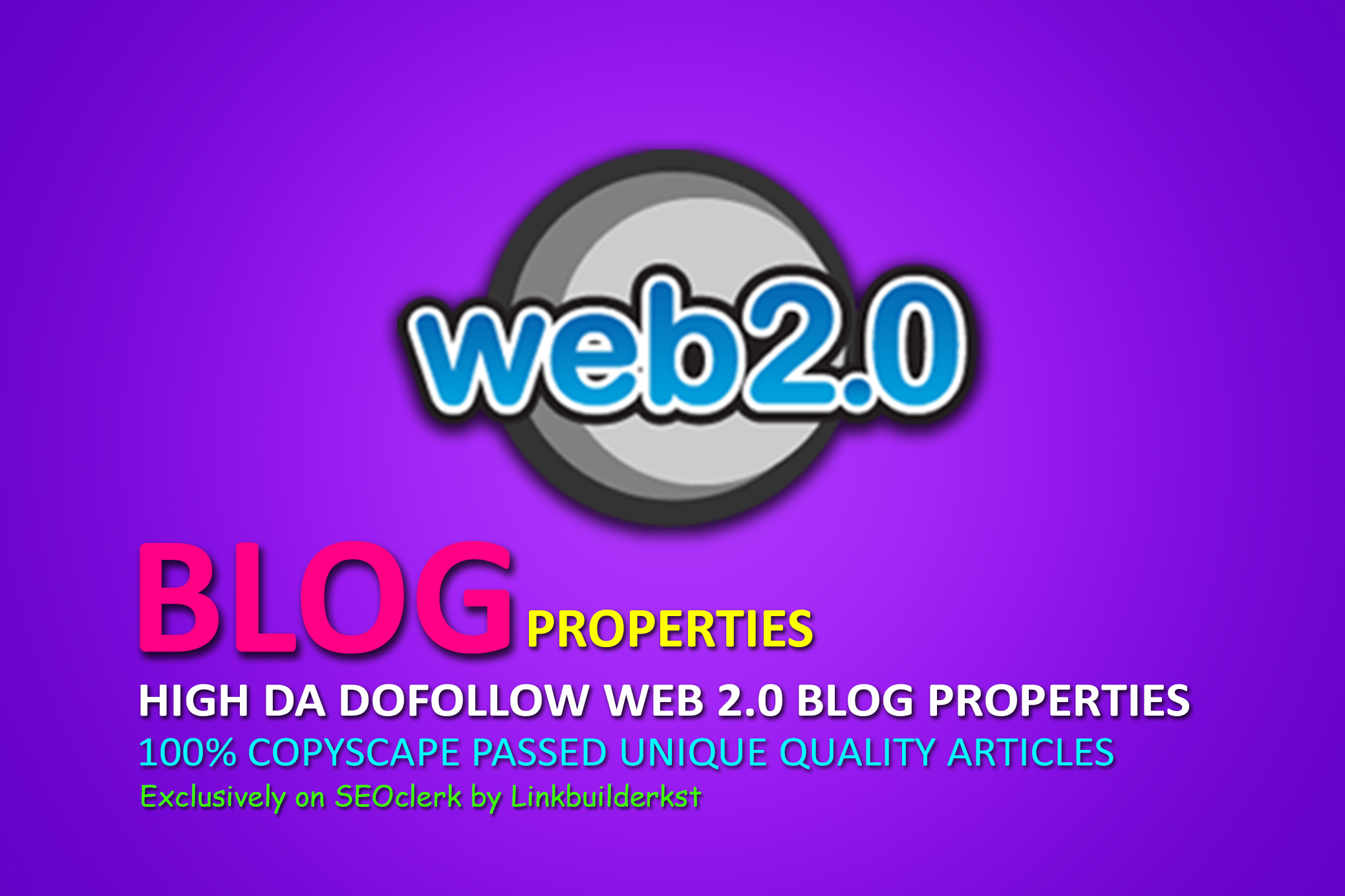 Handmade Dofollow Web 2.0 Blog Properties With Login, Unique Content, Image And Video