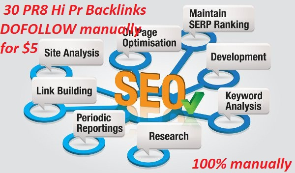 30 PR8 High Pr Backlinks DOFOLLOW manually