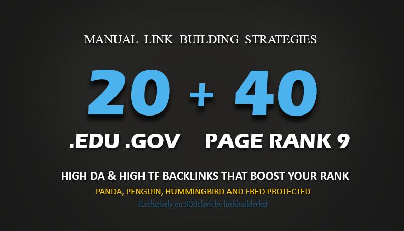 40 PR9 + 20 EDU GOV Backlinks From Highest Authority Domains