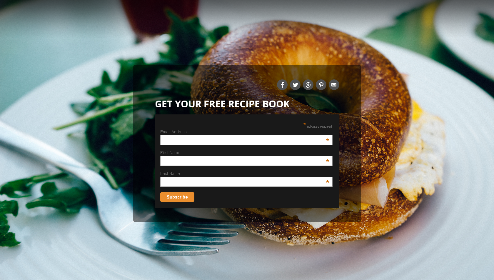 Landing Page for Recipe website