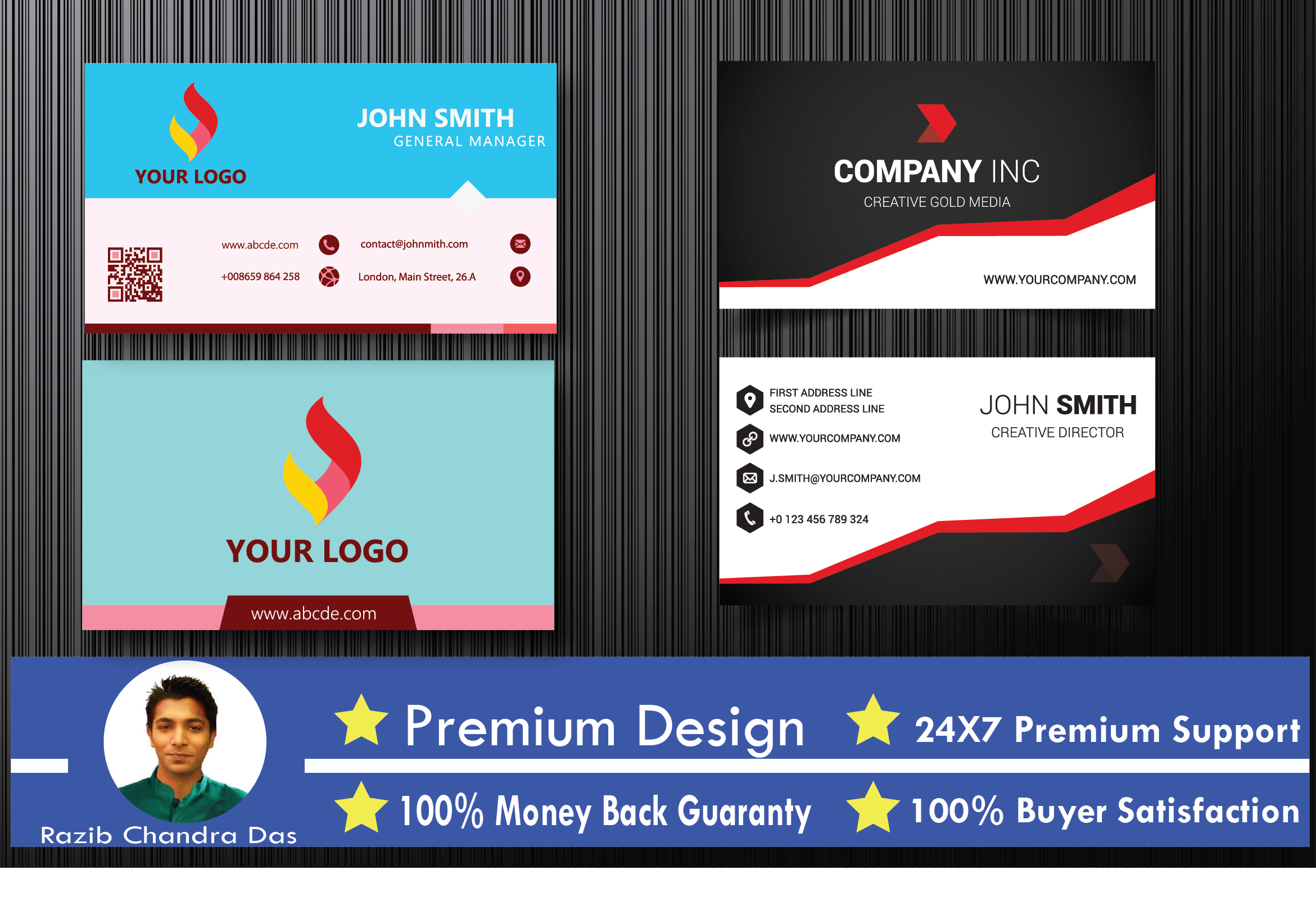 i will design double sided business card in 24 hours for $5