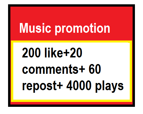 Music promotion(200 like+20 comments+ 60 repost+ 4000 plays)
