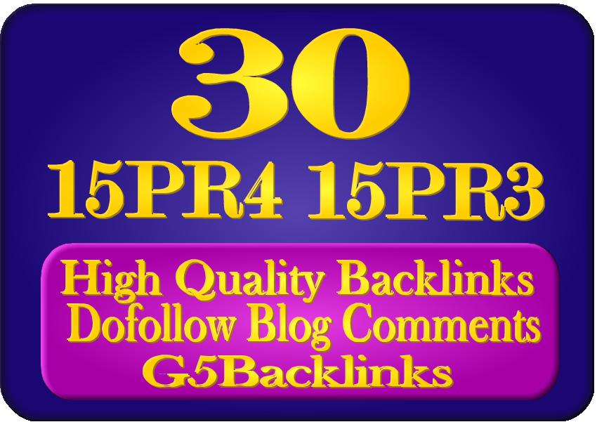 Provide You 15 PR4 15 PR3 Blog Comments Backlinks Manually
