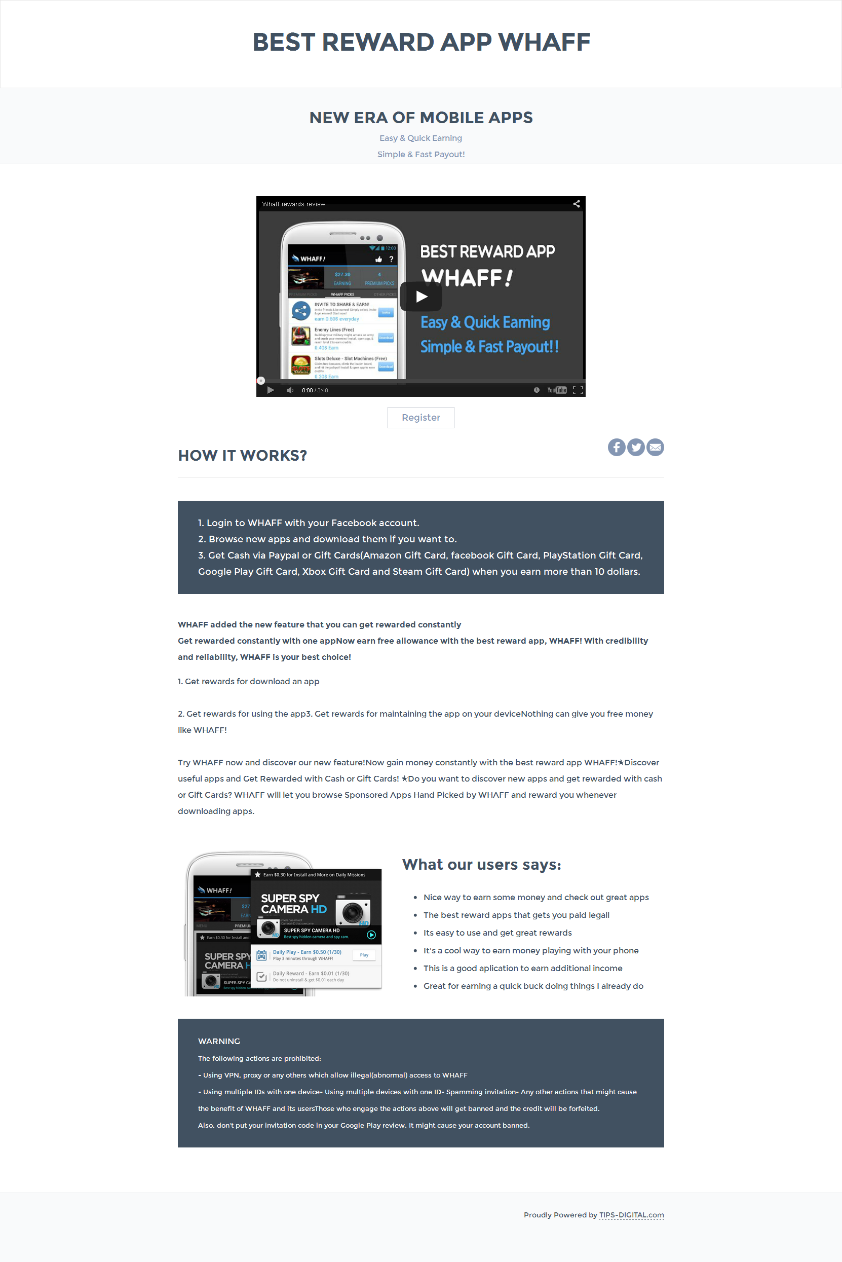 Landing page on white background