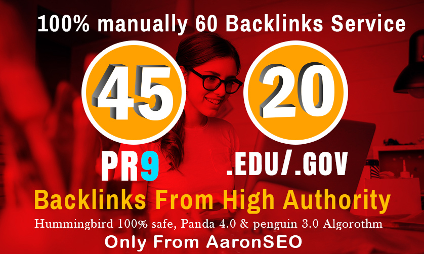 I will manually do 40 PR9 + 20 EDU/GOV Safe SEO High Pr Backlinks 2019 Best Results