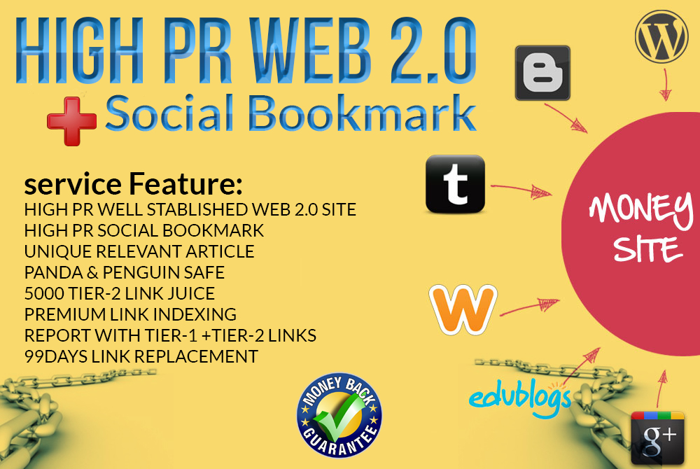 Handmade EDU, Gov link+Web2.0 Blog+Social Bookmark+High DA Profile links