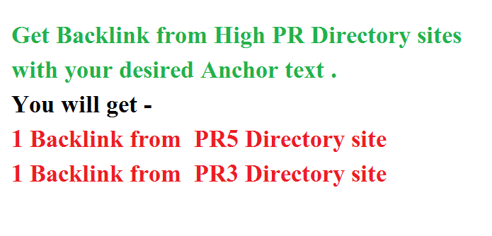 Top Google Ranking with 1 PR5 And 1 PR3 Directory listing / Backlink