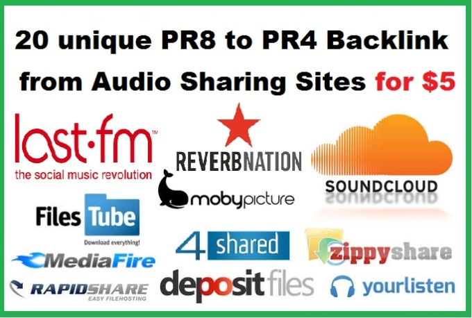 I will 20 unique PR8 to PR4 Backlink from Audio Sharing Sites