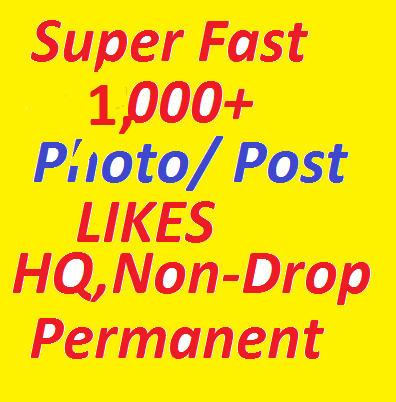 Instantly Start 1,000 HQ,  Non-Drop promotion Service for Your Post OR Photos OR videos