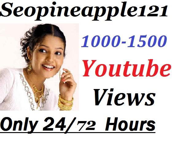 1000-1500 YouTube Vi e ws + 01 Extra Bonus YouTube Li ek s 2472 Hours Delivery Time