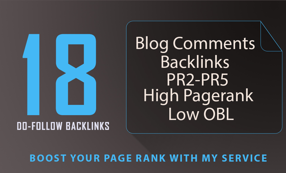 18 SEO blog comments backlinks pr2 to pr5