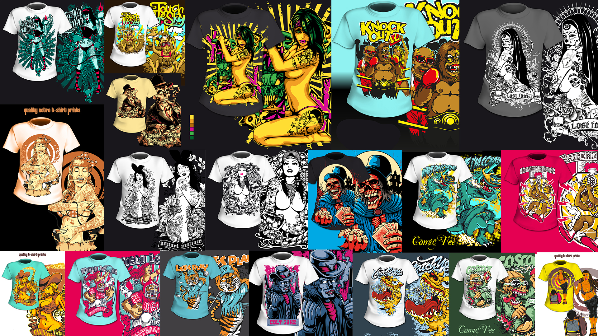 I will send you 20 tshirt designs ready for selling or printing