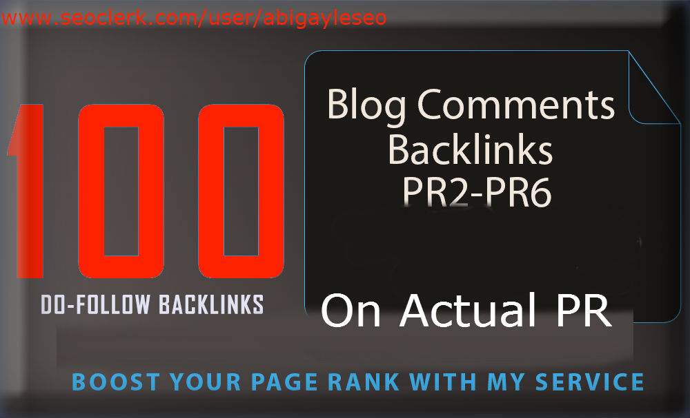 I'll create By hand 100 PR2 For you to PR6 weblog remarks substantial public relations BACKLINKS.