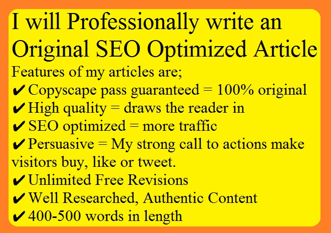 I will professionally write 400-500 words Original SEO Optimized Article