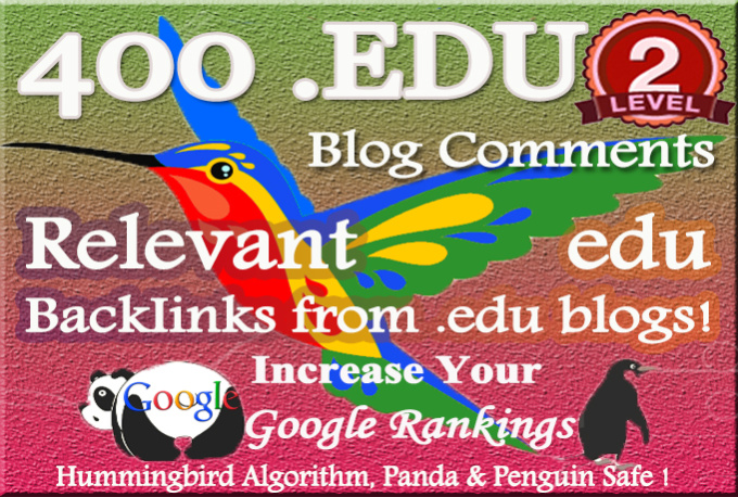 400 relevant edu blog Comment Backlinks to improve your Google rank
