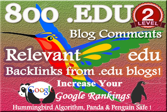 800 relevant edu blog Comment Backlinks to improve your Google rank for