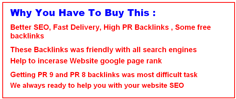 I Manually Do 5 PR9 + 3 PR8+ 3 PR7+ 5 PR6 + 1000 SEO Backlinks