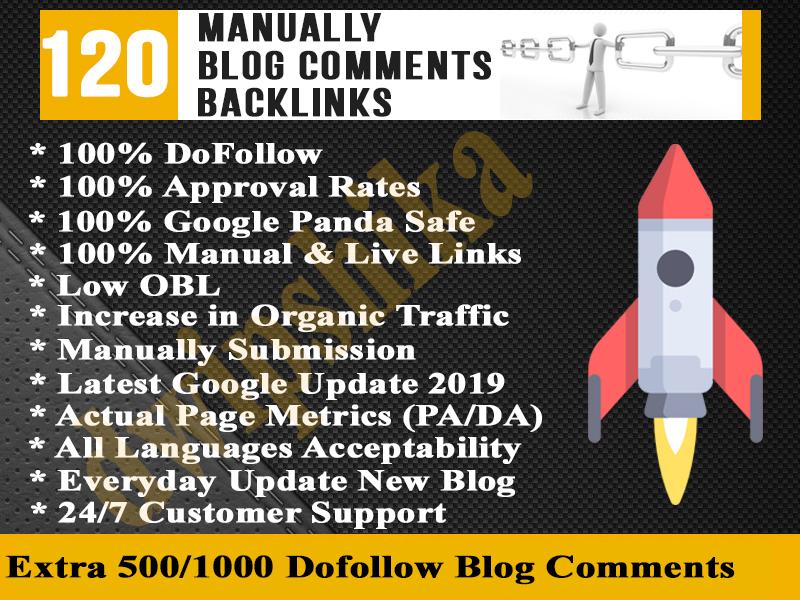 give you 120 High PA DA Unique domain DoFollow Blog Comments